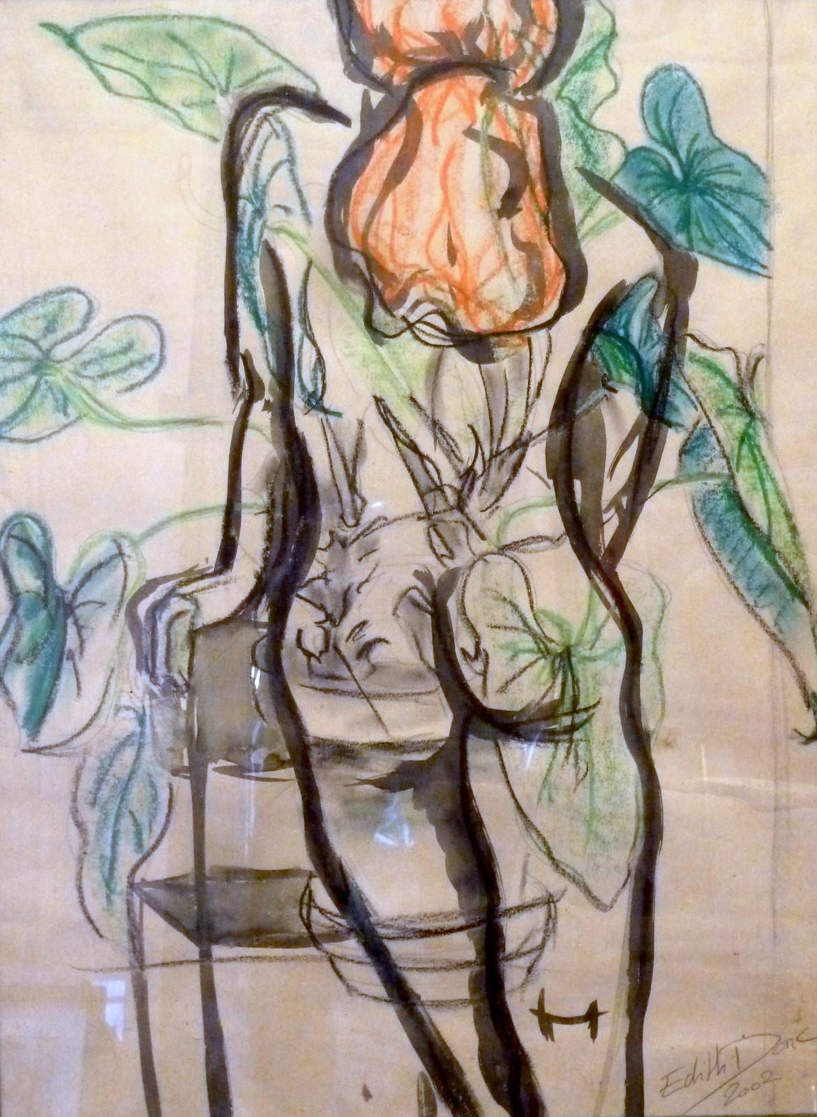 Edith Donc - Nu au philodendron