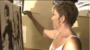 "Peinture en direct au concert de ""Madame Oleson"""